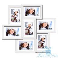 Мультирамка Камелия на 7 фотографий 10x15, антибликовое стекло (белый)