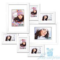 Мультирамка Алиса на 7 фотографий премиум, антибликовое стекло (белый)