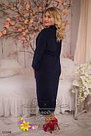 Платье женское нарядное с удлиненным задом креп-шифон + шарф коттон размеры 50-52, 54-56
