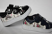 Детские кеды кроссовки лаковые для девочки на липучках синие чёрные розовые белые Размеры 21-26