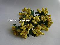 """""""Тычинки в сахаре"""" желтые, искусственных на розетке листьев (1 набор - 12 веточек )"""