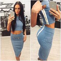 Женский стильный джинсовый костюм (+ большие размеры)