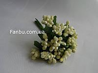 """""""Тычинки в сахаре"""" светло лимонные, искусственных на розетке листьев (1 набор - 12 веточек )"""