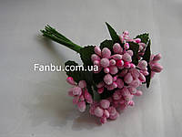 """""""Тычинки в сахаре"""" розовые, искусственных на розетке листьев (1 набор - 12 веточек )"""