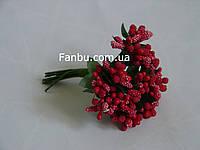 """""""Тычинки в сахаре"""" красные, искусственных на розетке листьев (1 набор - 12 веточек )"""