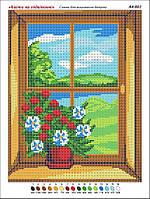 """""""Цветы на подоконнике"""". Канва (основа) для вышивки картины бисером. Цветы картина бисером. Схема для вышивки"""