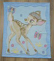 """Детский махровый плед-одеяло """"Олененок"""" для малышей (голубой)"""