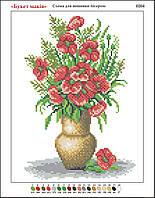 """""""Букет красных маков"""". Основа для вышивания бисером. Цветы картина. Схема для вышивки"""