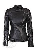 Черная кожаная куртка косуха, на молнии