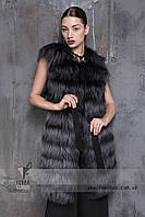 Длинная жилетка из меха натуральной норвежской чернобурки