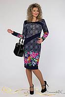 Темно-синее легкое платье 52-58 рр.