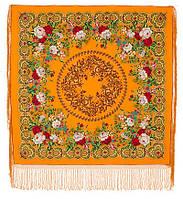 Белые розы 373-0, павлопосадский платок (шаль) из уплотненной шерсти с шелковой вязанной бахромой