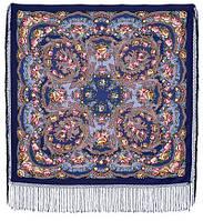 Цветы под снегом 1099-14, павлопосадский платок (шаль) из уплотненной шерсти с шелковой вязанной бахромой