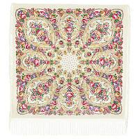 Мороз и солнце 1569-1, павлопосадский платок (шаль) из уплотненной шерсти с шелковой вязанной бахромой