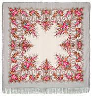 Лариса 322-6, павлопосадский платок шерстяной (с просновками) с шелковой бахромой
