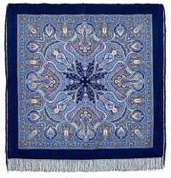 Испанский 710-14, павлопосадский платок шерстяной  с шелковой бахромой
