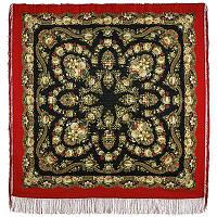 Молодушка 1511-4, павлопосадский платок шерстяной  с шелковой бахромой