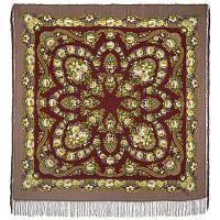 Молодушка 1511-16, павлопосадский платок шерстяной  с шелковой бахромой