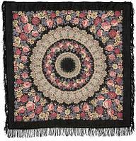 Молитва 353-20, павлопосадский платок шерстяной  с шерстяной бахромой