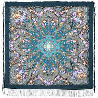 Розовые дали 1639-12, павлопосадский платок шерстяной (двуниточная шерсть) с шелковой бахромой
