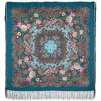 Бал маскарад 982-12, павлопосадский платок шерстяной с шелковой бахромой