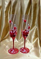 """Бокалы свадебные """"Красные цветы"""""""