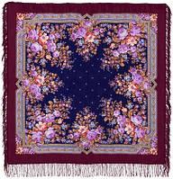Павловские розы 1341-7, павлопосадский платок шерстяной с шерстяной бахромой