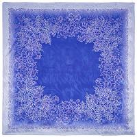 Морозные узоры 1314-14, павлопосадский платок (жаккард) шелковый с подрубкой
