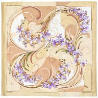 Танцующие орхидеи 1444-3, павлопосадский платок (жаккард) шелковый с подрубкой