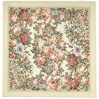 Чайные розы 1443-1, павлопосадский платок (крепдешиновый) шелковый с подрубкой