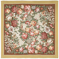 Чайные розы 1443-2, павлопосадский платок (крепдешиновый) шелковый с подрубкой