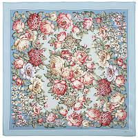 Чайные розы 1443-3, павлопосадский платок (крепдешиновый) шелковый с подрубкой
