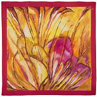 Болеро 10004-5, павлопосадский шейный платок (крепдешин) шелковый с подрубкой