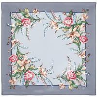 Летний ветерок 1632-1, павлопосадский шейный платок (крепдешин) шелковый с подрубкой