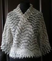 Шарфик П-00189, серый-белый, оренбургский шарф (палантин)