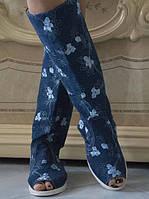 Стильные тканевые сапожки с вышивкой с открытым носком на шнуровке
