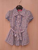 Легкие хлопковые блузки-туники для девочек в мелкий цветочек 4-12 лет.