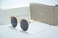 Солнцезащитные очки Dior черные линзы с золотой оправой
