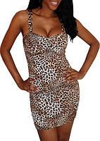 Женское короткое леопардовое платье L2354