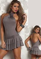 Женское короткое серое платье с цветком и открытой спиной K3393-2