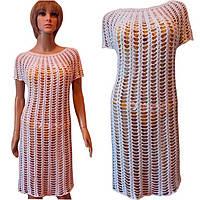 Белое вязаное крючком пляжное платье большого размера