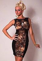 Женское леопардовое платье с гипюровыми вставками и брошью из страз L2478