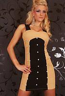 Женское бежевое платье с черными вставками L2509-1