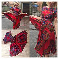 Платье  солнце из платка в стиле Матрешка с коротким рукавом