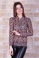 Блуза Из Тонкого Шифона с Цветочным Принтом На Кокетке Розы р. S-L