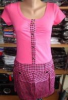 Платье клетка с карманами малиновое размер М