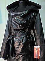 Куртка кожаная с капюшоном на молнии косуха длина 58 см 52р 54р  Под заказ- 44р 46р 48р 50р