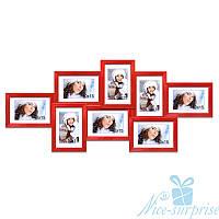 Мультирамка Виолетта на 8 фотографий 10х15, антибликовое стекло (красный)