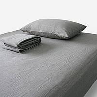 Постельное бельё из льна серый- натуральный цвет - евро