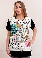 Черно белая футболка с разноцветными розами, фото 1